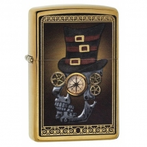 Zippo messing gebürstet Mechanic Skull with Hat